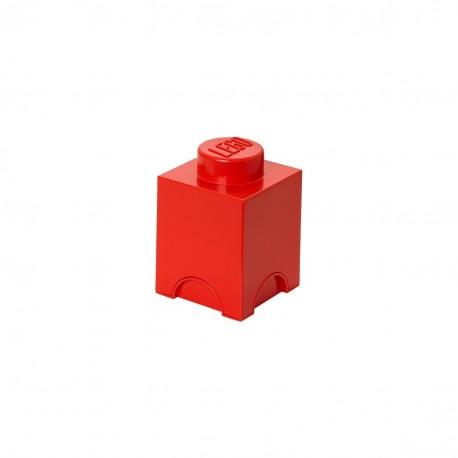 LEGO Storage Brick 1 Knobs - Red
