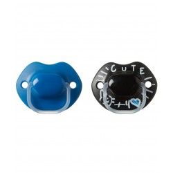 Tommee Tippee MeMe Soother 6-18 Months - Blue and Black (2 Pack)