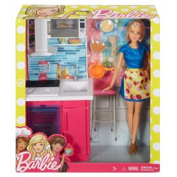 Barbie Doll & Kitchen Playset
