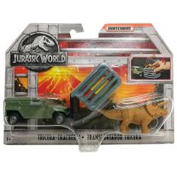 Jurassic World Matchbox Dino Transporters Tricera-Tracker Vehicle and Figure