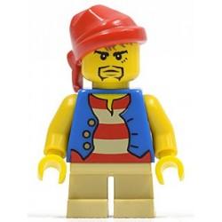 Pirate Blue Vest, Tan Short Legs, Red Bandana, Black Beard