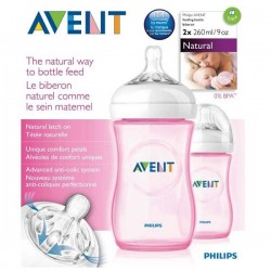 Philips AVENT Pink Twin Pack Natural Bottle (260ml)