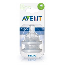 Philips AVENT Twin Pack Silicone Teats Slow Flow (1 Month+, 2 Holes)