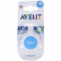 Philips AVENT Twin Pack Silicone Teats Medium Flow (3 Months+, 3 Holes)
