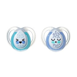 Tommee Tippee Closer to Nature Night Time Soother 0-6 Months - Blue and Green (2 Pack)