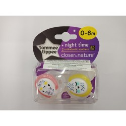Tommee Tippee Closer to Nature Night Time Soother 0-6 Months - Pink and Yellow (2 Pack)