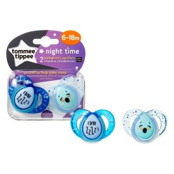 Tommee Tippee Closer to Nature Night Time Soother 6-18 Months - Blue (2 Pack)