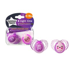 Tommee Tippee Closer to Nature Night Time Soother 6-18 Months - Purple (2 Pack)