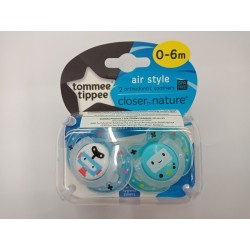 Tommee Tippee Closer to Nature Air Soother 0-6 Months - Blue (2 Pack)