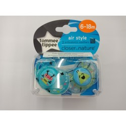 Tommee Tippee Closer to Nature Air Soother 6-18 Months - Blue (2 Pack)
