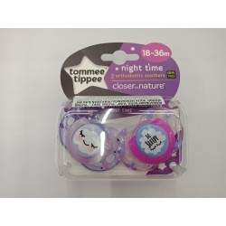 Tommee Tippee Closer to Nature Night Time Soother 18-36 Months - Purple (2 Pack)