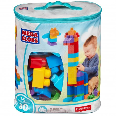 Mega Bloks First Builders Big Building Bag (Blue) - 80pcs