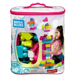 Mega Bloks First Builders Big Building Bag (Pink) - 80pcs