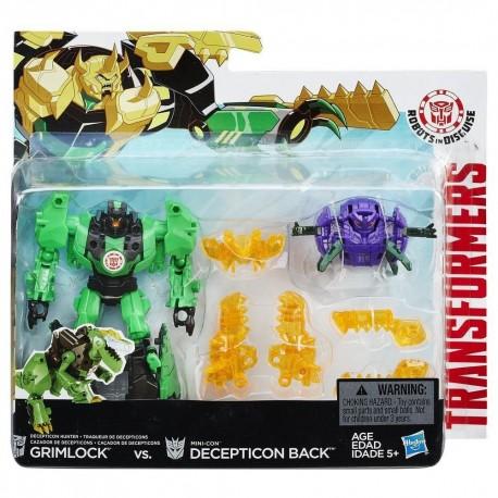Transformers Robots in Disguise Minicons Combat set Grimlock & Deception Back