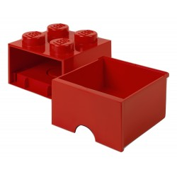 LEGO Brick Drawer 4 Knobs (1 Drawer) - Red