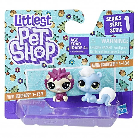 Littlest Pet Shop Mini 2-pack Set of 2 Animals-Hildy Hedgehog and Alina Skunkerby