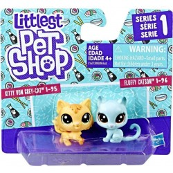Littlest Pet Shop Mini 2-pack Set of 2 Animals-Fluffy Catson and Kitty Von Grey_Cat