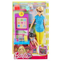 Barbie Teacher Doll with Flipping Blackboard Playset