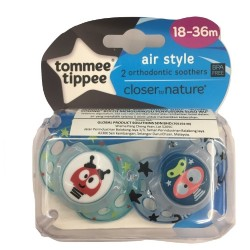 Tommee Tippee Closer to Nature Air Soother 18-36m - Blue (2 Pack)