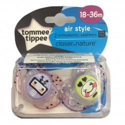 Tommee Tippee Closer to Nature Air Soother 18-36m - Purple and Pink (2 Pack)