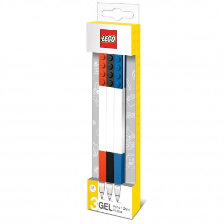 Lego Coloured GEL Pens 3 Pack With Building Bricks
