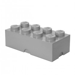 LEGO Storage Brick 8 Knobs - Medium Stone Grey