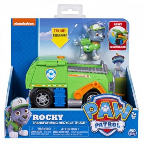 Paw Patrol Basic Vehicle W/Pup - Rocky Transforming Recycle Truck