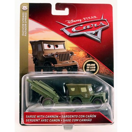 Disney Pixar Cars Deluxe Sarge With Cannon