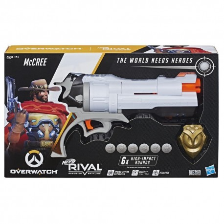 Nerf Rival Overwatch McCree Nerf Rival Blaster with Die Cast Badge and 6 Overwatch Rounds