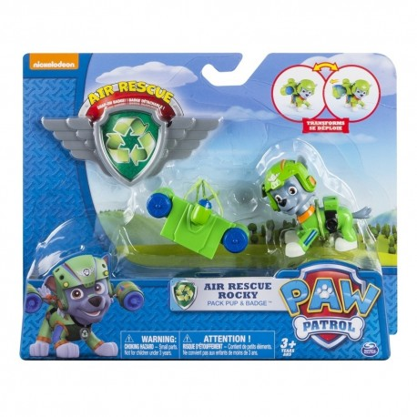Paw Patrol Air Rescue Pack Pup and Badge Asst - Rocky