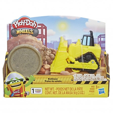 Play Doh Wheels Mini Bulldozer Toy with 1 Can of Non-Toxic Play-Doh Stone Colored Buildin' Compound