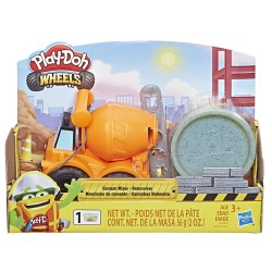 Play Doh Wheels Mini Cement Truck Toy with 1 Can of Non-Toxic Play-Doh Cement Colored Buildin' Compound