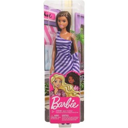 Barbie Glitz Doll Purple & White Stripe Ruffle Dress