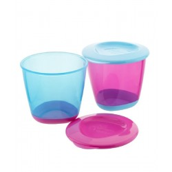 Tommee Tippee Explora Twin Pack Blue and Pink Pop Up Weaning Pot (4 Months+)