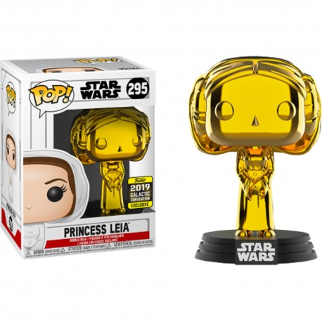 Funko Pop! Star Wars 295: Princess Leia Gold Chrome (2019 Galactic Convention) (Exclusive)