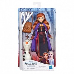 Disney Frozen Anna Doll With Buildable Olaf Figure and Backpack Accessory, Inspired by Disney Frozen 2 Movie