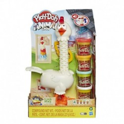 Play-Doh Animal Crew Cluck-a-Dee Feather Fun Chicken Toy Farm Animal Playset with 4 Non-Toxic Play-Doh Colors