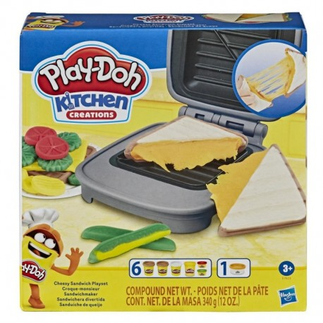 Play-Doh Kitchen Creations Cheesy Sandwich Play Food Set with Non-Toxic Play-Doh Elastix Compound and 6 Colors