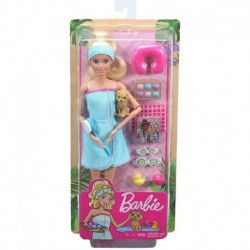 Barbie Spa Doll, Blonde, with Puppy and 9 Accessories