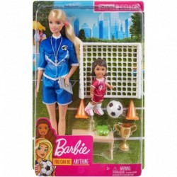Barbie Soccer Coach Playset with Blonde Soccer Coach Doll, Student Doll and Accessories