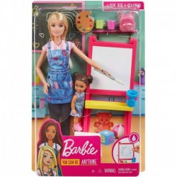 Barbie Art Teacher Playset with Blonde Doll, Toddler Doll, Easel and Accessories