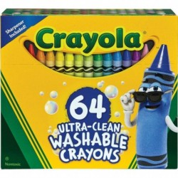 Crayola Ultra-Clean 64 Color Washable Crayon Box with Built-In Sharpener