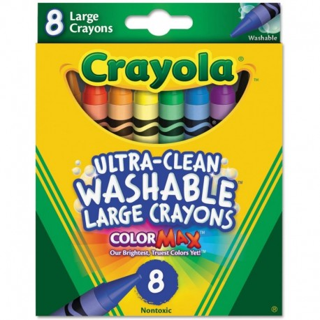 Crayola Ultra-Clean 8 Color Large Size Washable Crayon Box