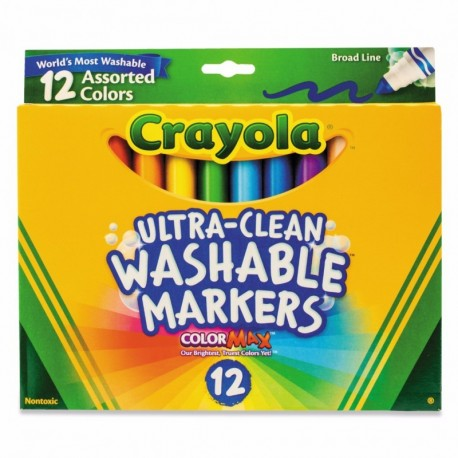 Crayola Ultra-Clean 12 Color Broad Point Washable Markers