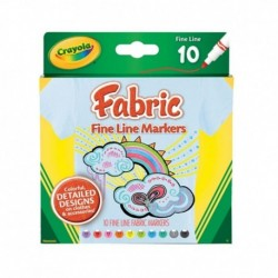Crayola 10 Colors Fabric Fine Line Markers