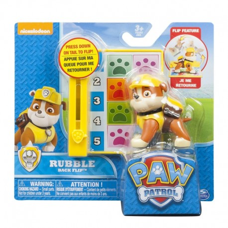 Paw Patrol Action Pack Pup & Badge - Rubble Back Flip