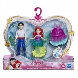 Disney Princess Ariel and Prince Eric Collectible Small Doll Royal Clips Fashion Toys with Extra Dress