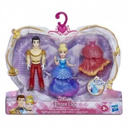 Disney Princess Cinderella and Prince Charming Collectible Small Doll Royal Clips Fashion Toys with Extra Dress