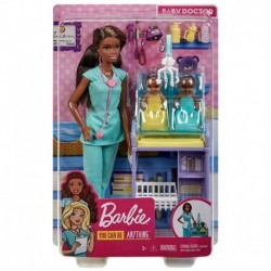 Barbie Baby Doctor Playset with Brunette Doll, 2 Infant Dolls, Exam Table and Accessories