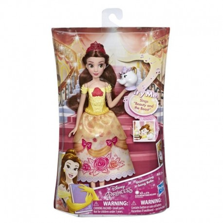 """Disney Princess Shimmering Song Belle, Musical Fashion Doll with Removable Fashion, Toy Sings """"Beauty and the Beast"""""""